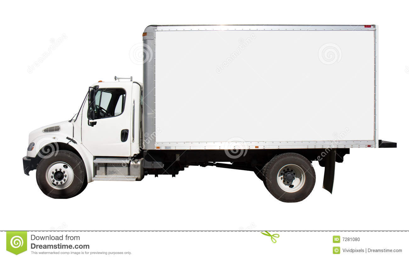 Plain white delivery truck with blank sides and blank cab, ready for ...