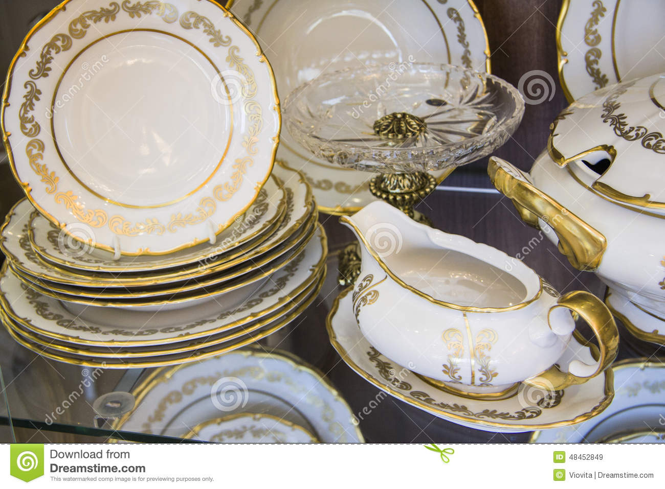 White dining plates set & White dining plates set stock image. Image of gilded - 48452849