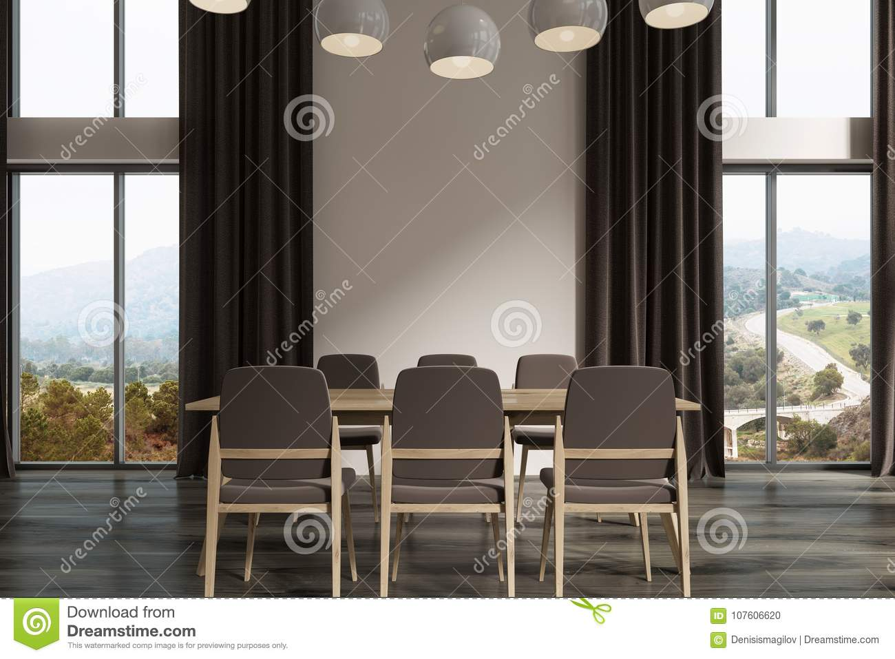 White Dining Room Interior With A Dark Wooden Floor Long Table Gray Chairs And Tall Windows Black Curtains 3d Rendering Mock Up