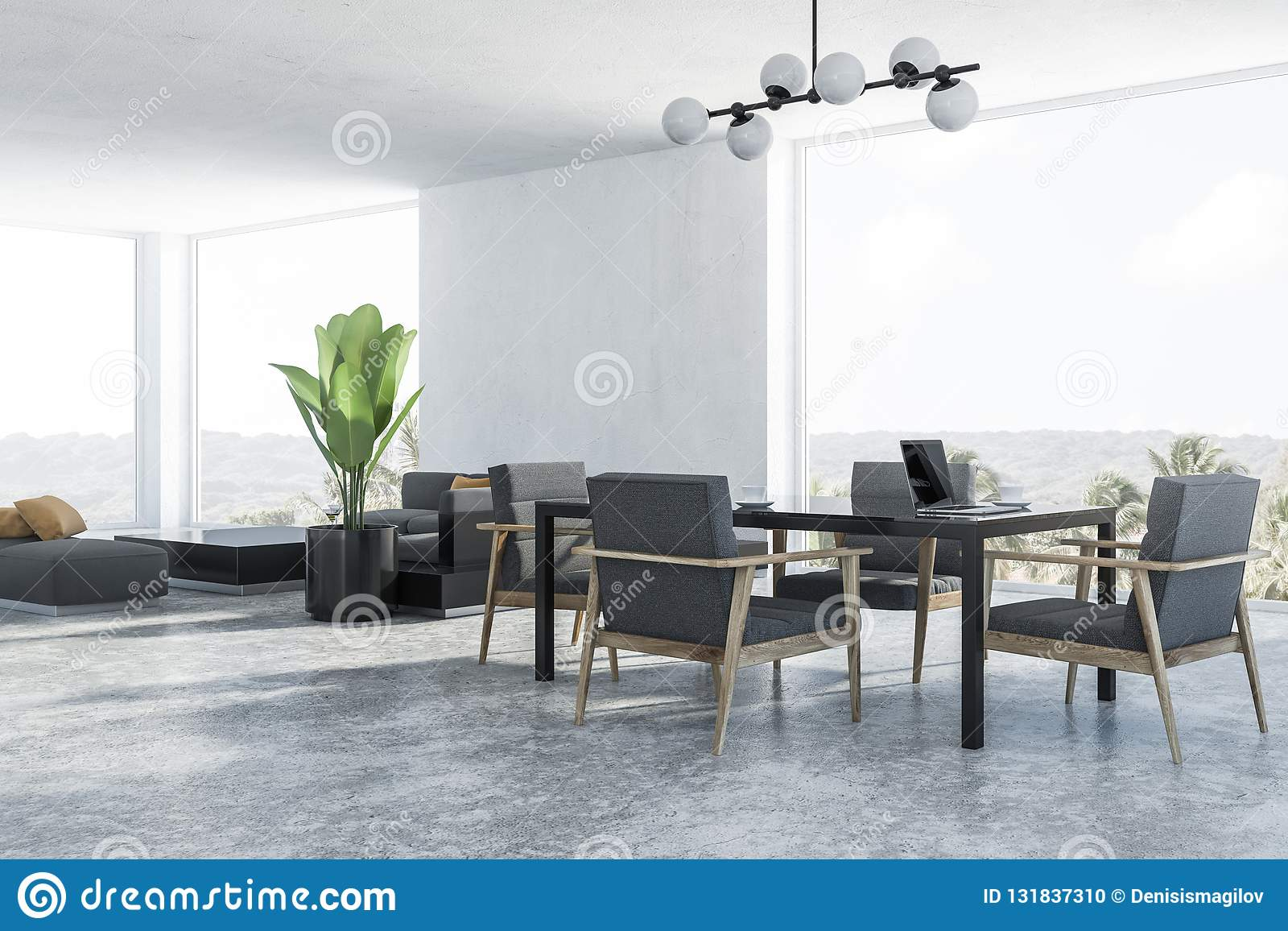 Amazing White Dining Room Corner Gray Armchairs Stock Illustration Uwap Interior Chair Design Uwaporg