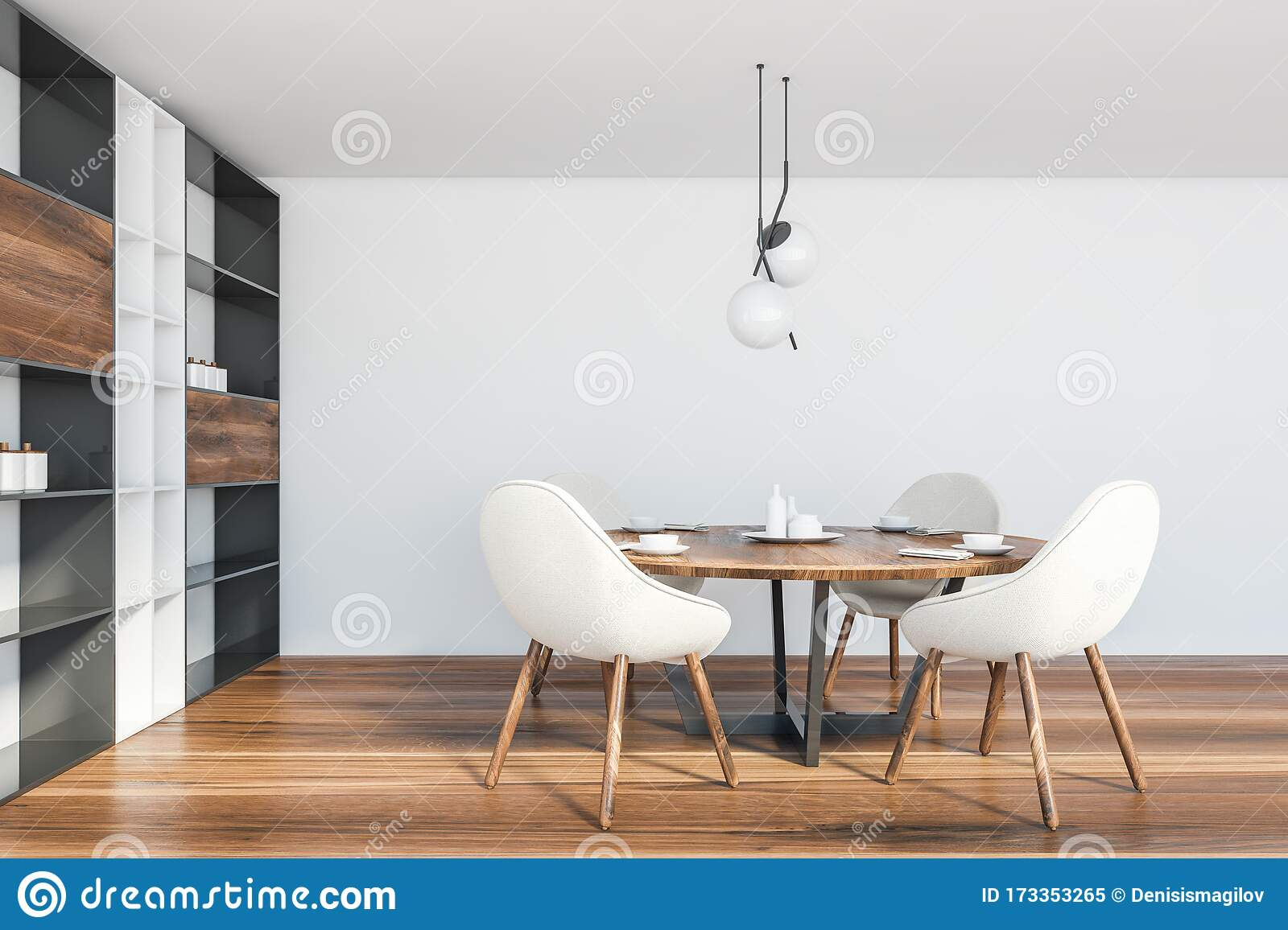 White Dining Room Interior With Cupboard Stock Illustration Illustration Of Lamp Apartment 173353265