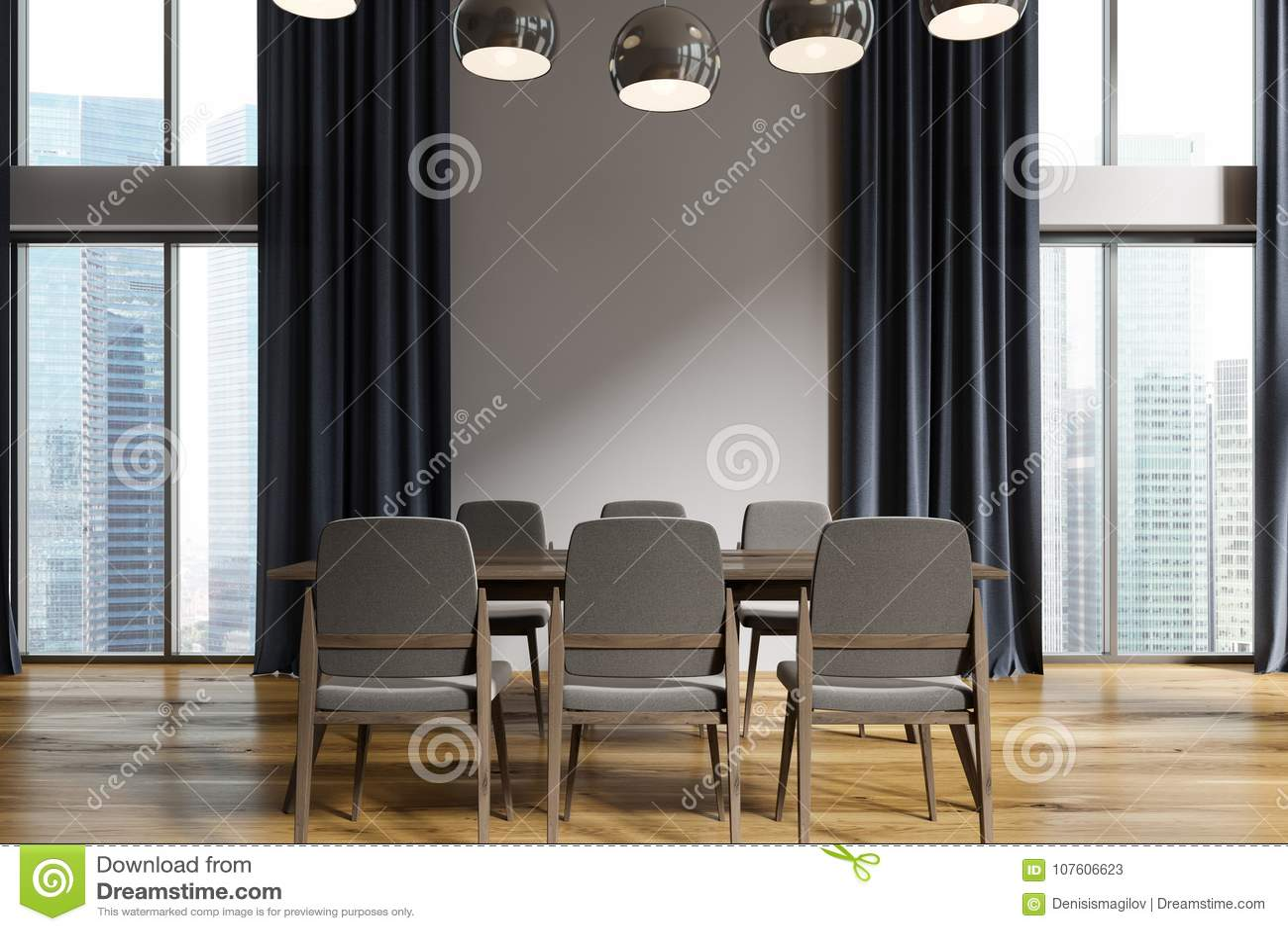 White Dining Room Black Curtains Stock Illustration Illustration Of Apartment Furnished 107606623