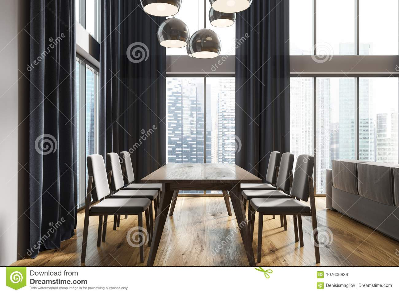White Dining Room Black Curtains Side Stock Illustration Illustration Of Maple Clean 107606636
