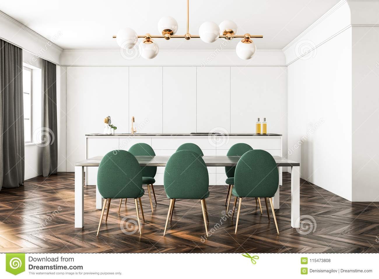 White Dining Room And Kitchen Green Chairs Stock Illustration Illustration Of Dining Contemporary 115473808