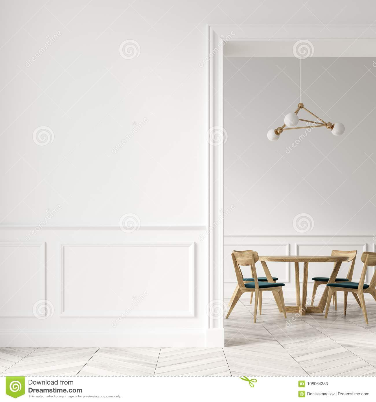 Modern Dining Room Interior With White Walls A Wooden Floor And Table Green Chairs Doorway Blank Wall Fragment