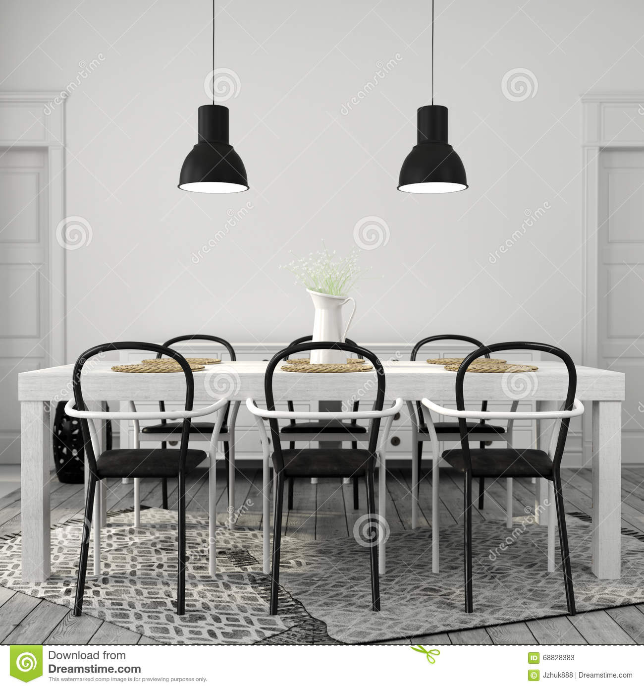 White Dining Table With Black Chairs Stock Photo Image  : white dining table black chairs interior area large 68828383 from www.dreamstime.com size 1300 x 1390 jpeg 169kB