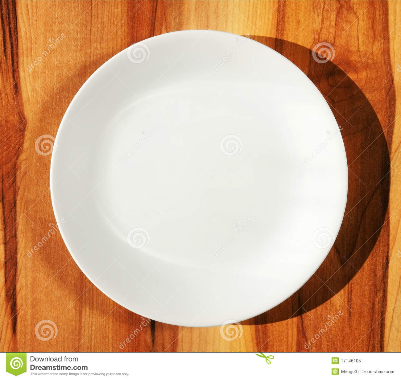 White Dinner Plate On Wood Table Stock Image Image Of