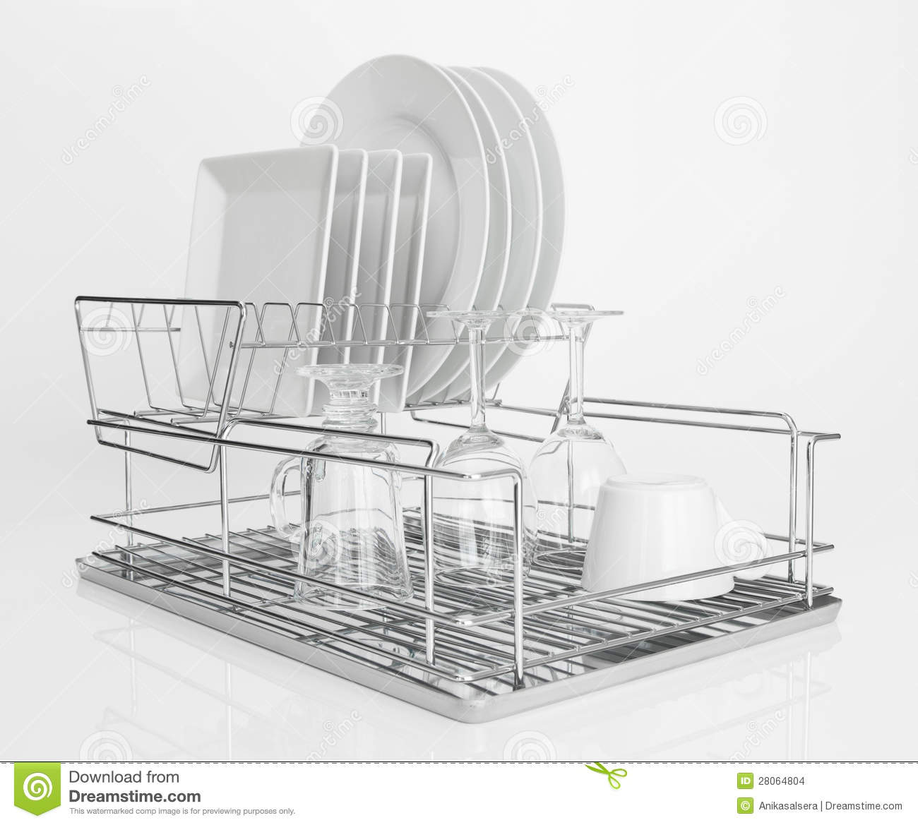 White Dishes Drying On Metal Dish Rack Stock Photo Image