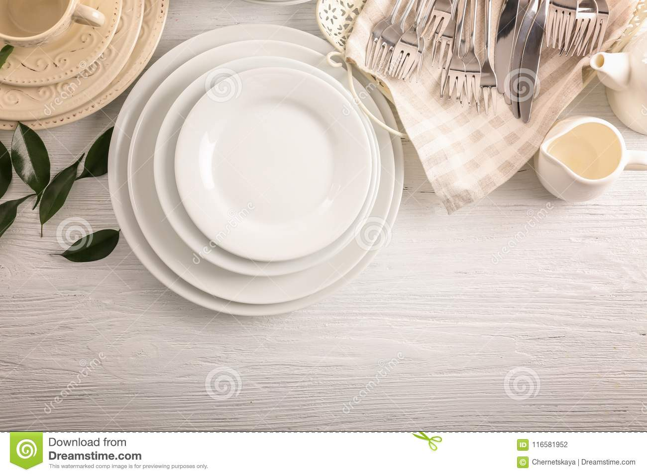 White dishes on table