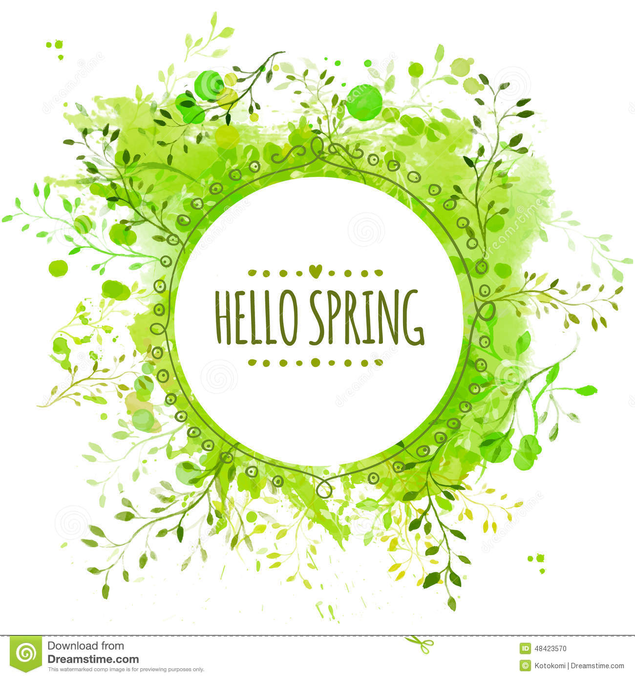 white doodle circle frame with text hello spring green paint splash