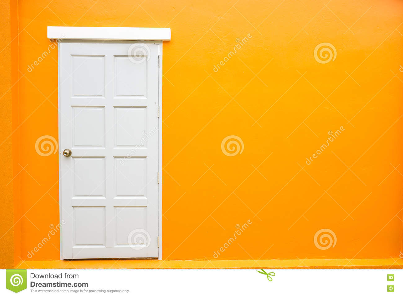 White Door Classic Vintage On The Color Orange Wall Stock Image ...