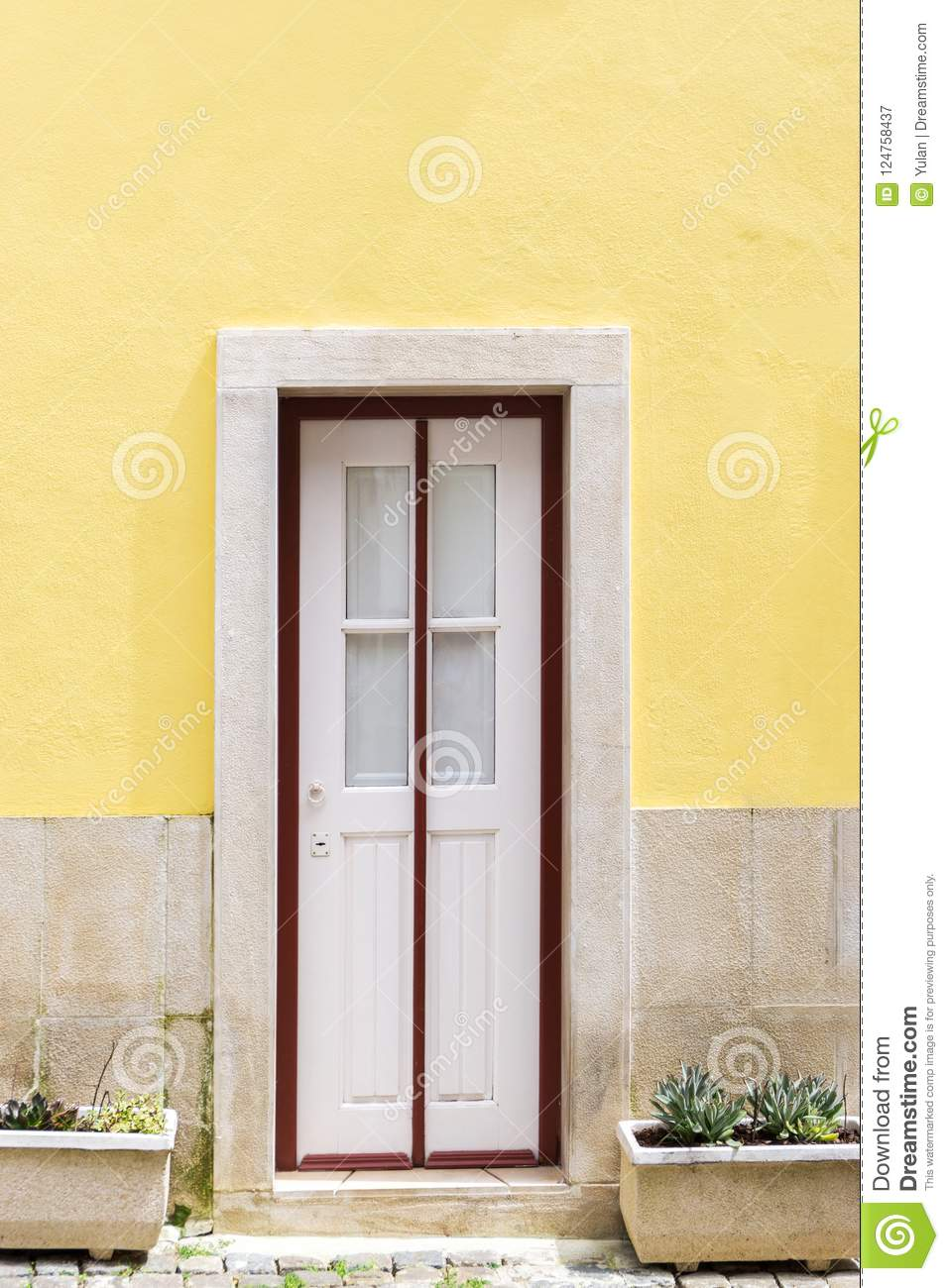 White door with red frame stock image. Image of house - 124758437