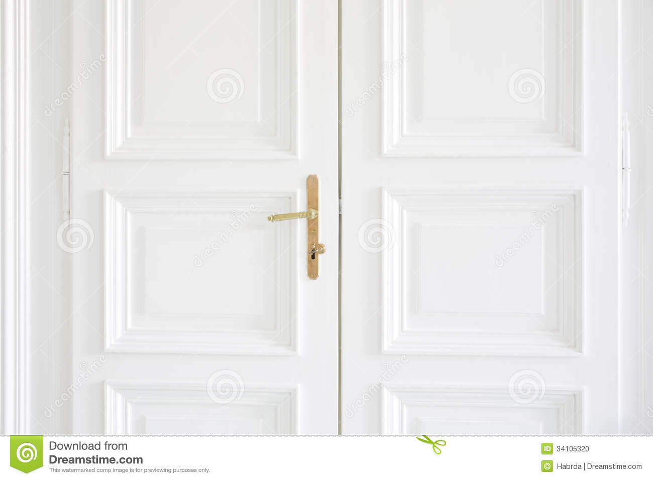 White Doors With Golden Handle Inside Stock Photo Image