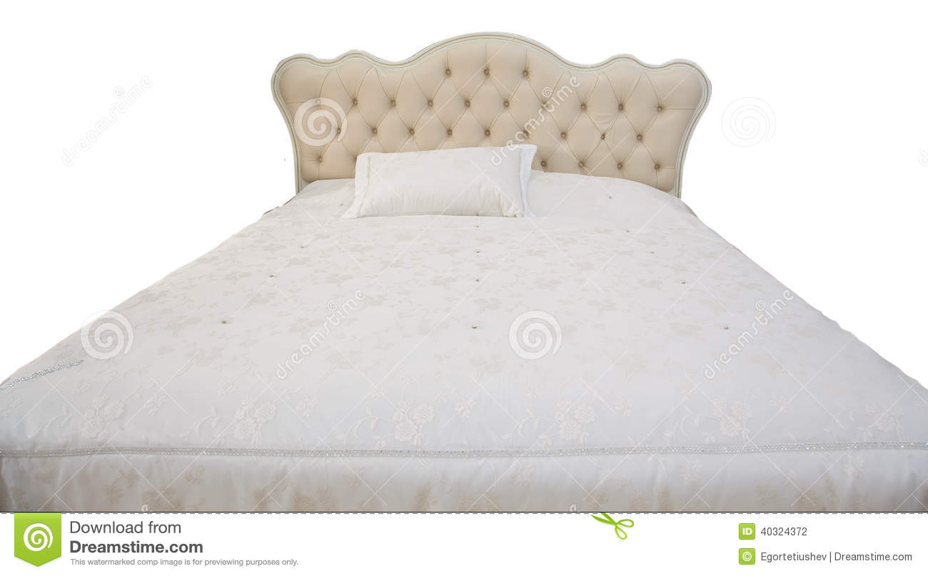 White double bed stock photo. Image of mattress, house - 40324372