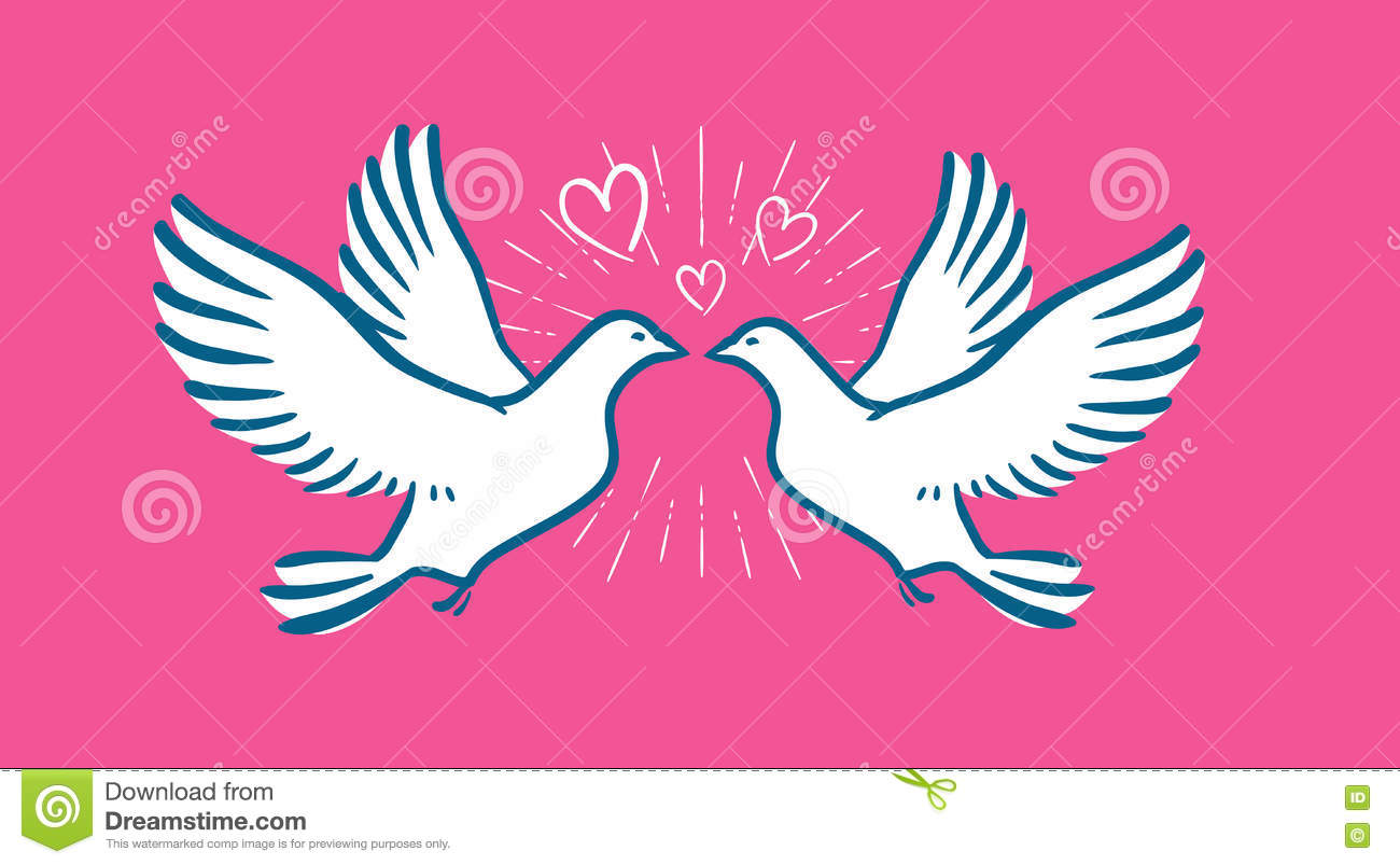 White Dove Flying. Wedding, Love Symbol. Valentines Day Banner Stock ...