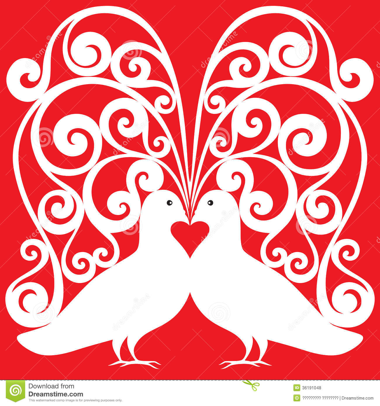 White doves pair kissing pattern with a heart symb royalty for Love design