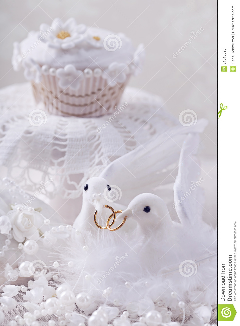White Doves With Rings Royalty Free Stock Photo Image