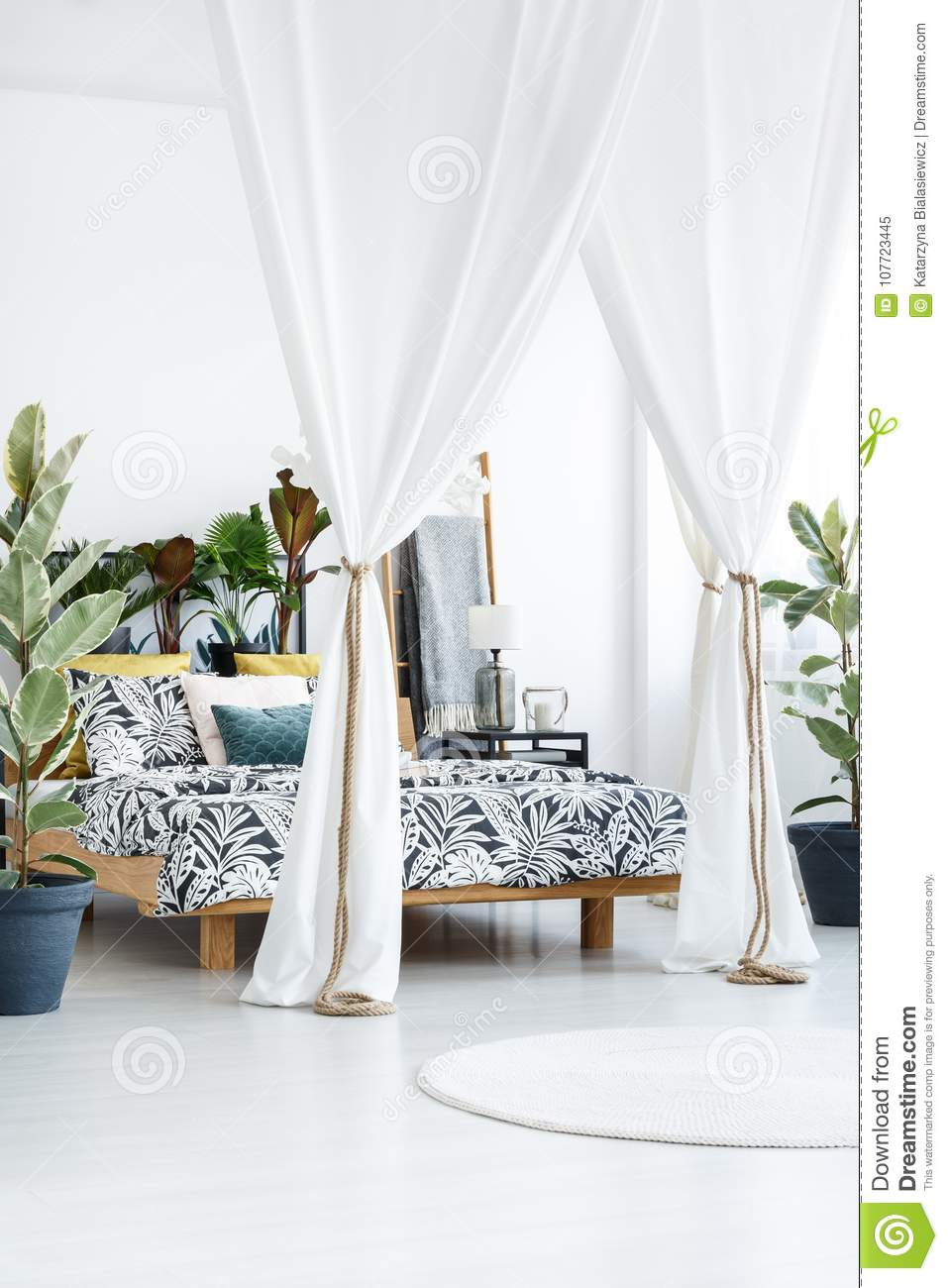 White Drapes In Bright Bedroom Stock Image Image Of Furniture Lamp 107723445