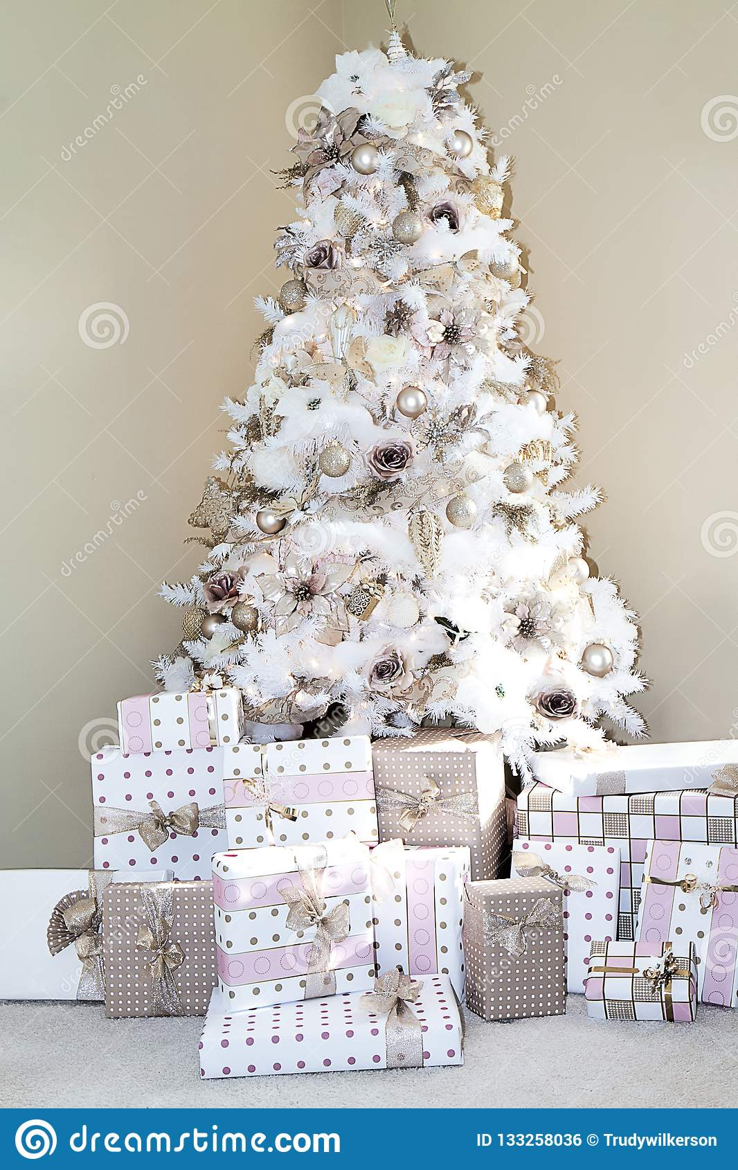 White Dreamy Christmas Tree Decorated In Blush Pink Ornaments Stock