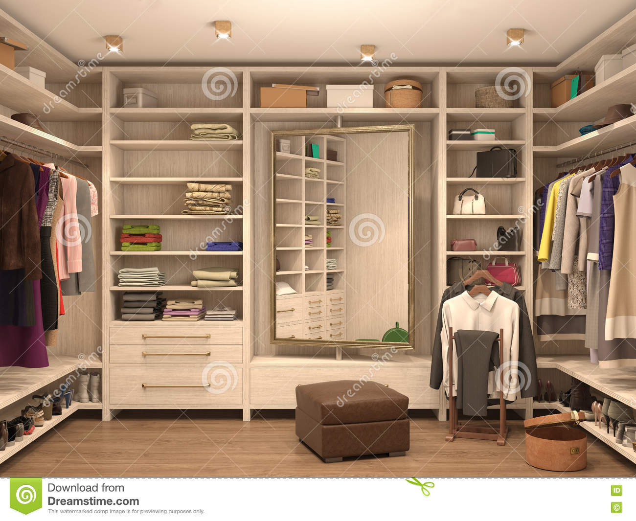 White dressing room interior of a modern house stock for Dressing room interior