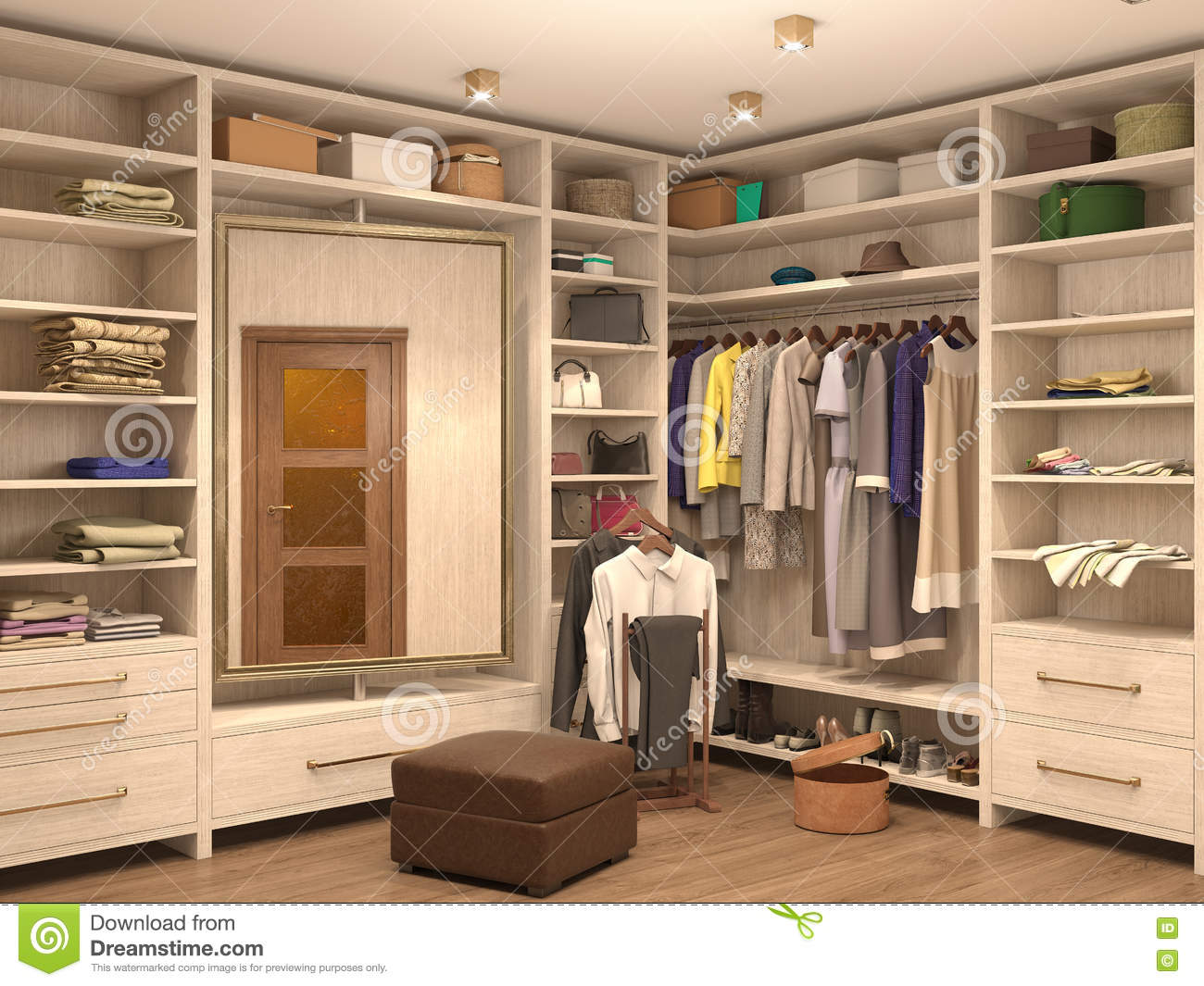 White dressing room interior of a modern house