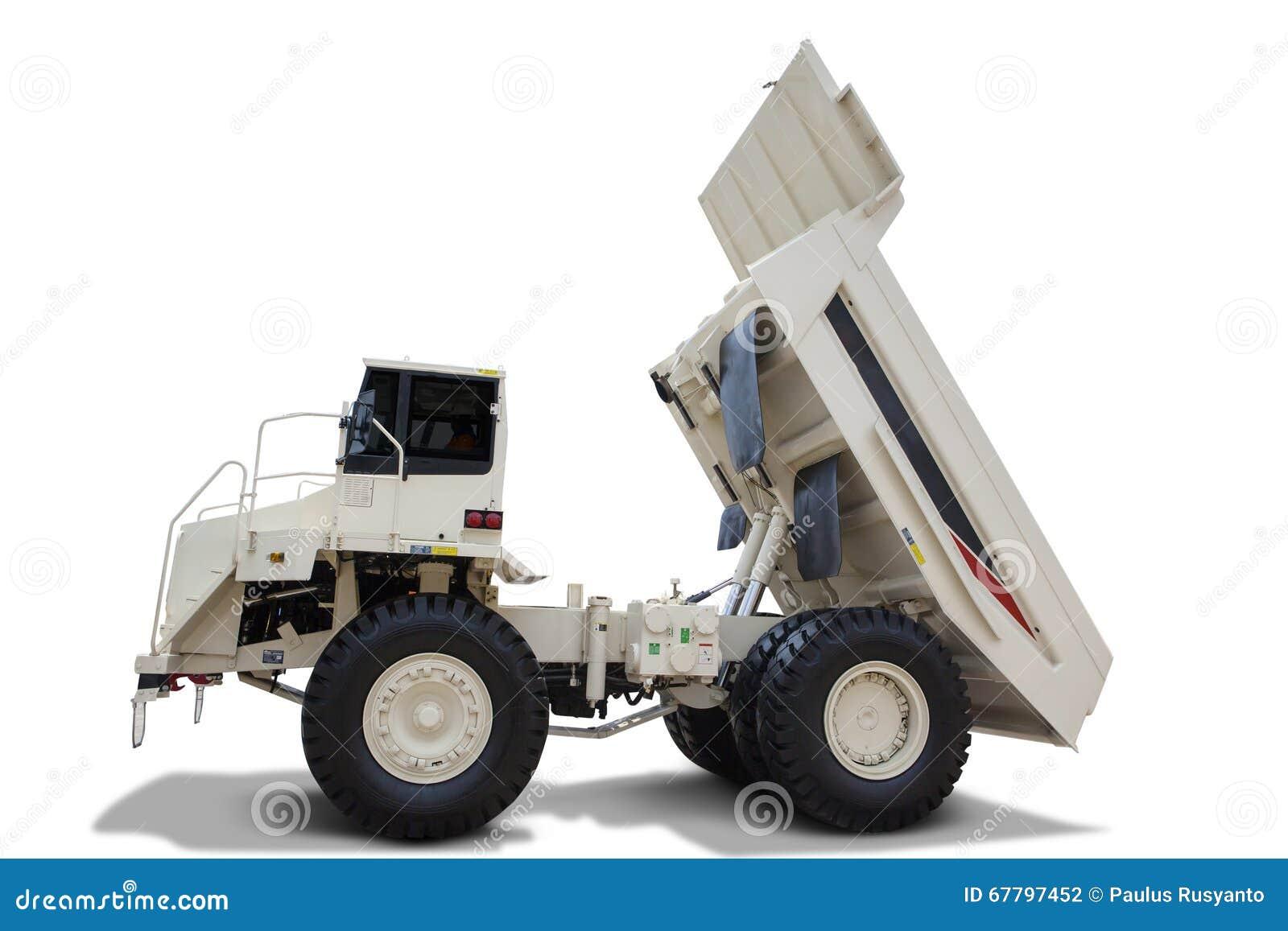 White Dump Truck On White Background Stock Photo - Image of