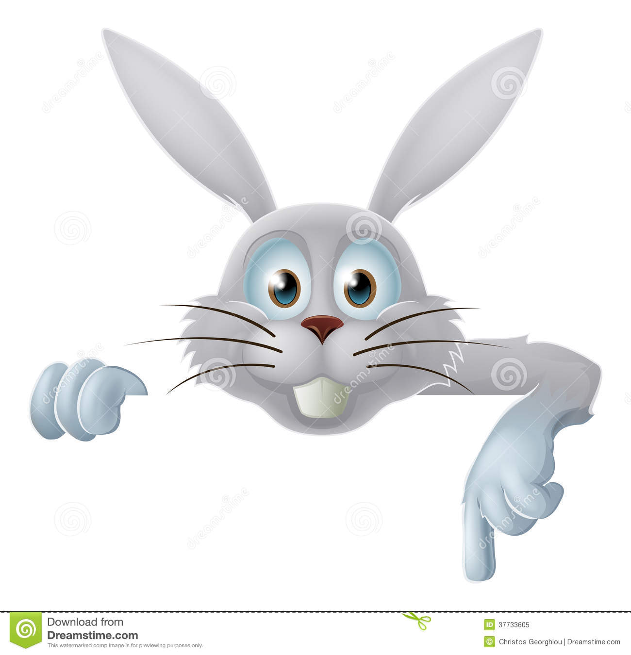 White Easter Bunny Pointing Down Stock Vector