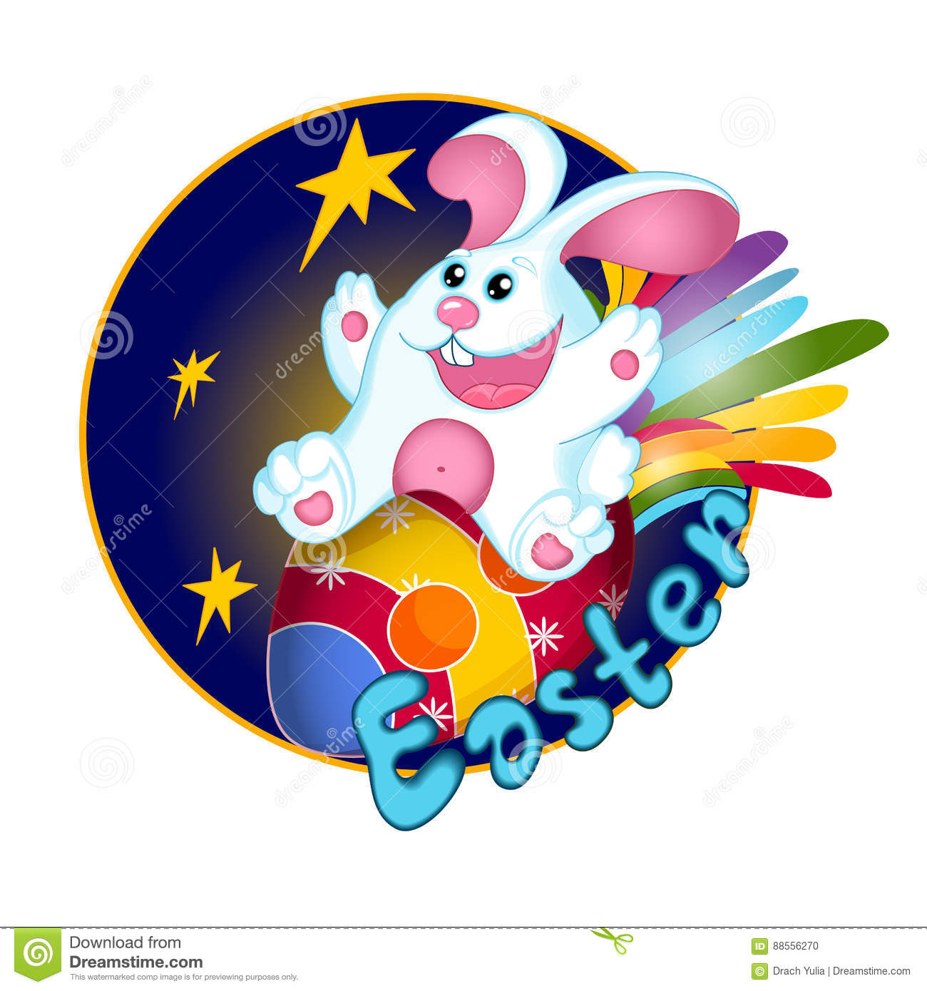 A White Easter Bunny Rabbit Flies On An Easter Egg Decorated Like A