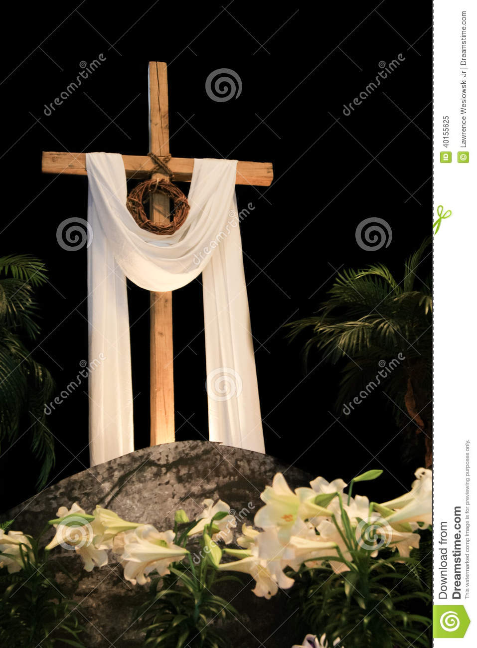 White Easter Lilies, Cross And Crown Of Thorns Stock Photo