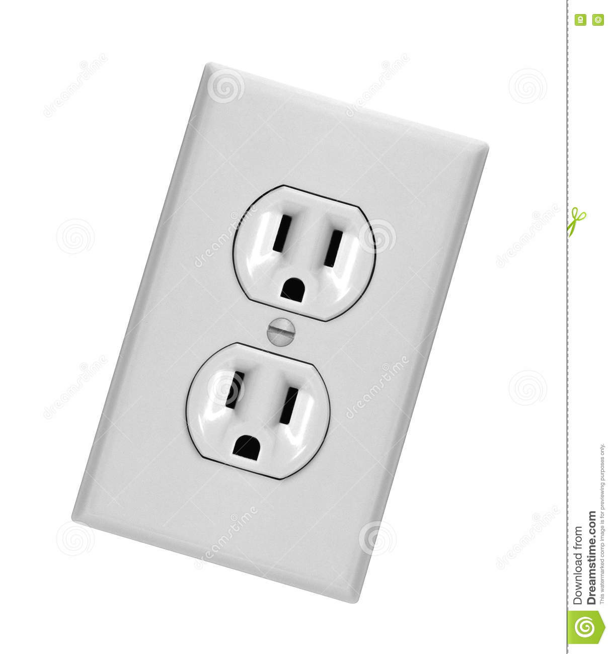 White Electric Wall Outlet Receptacle Stock Photo - Image of power ...