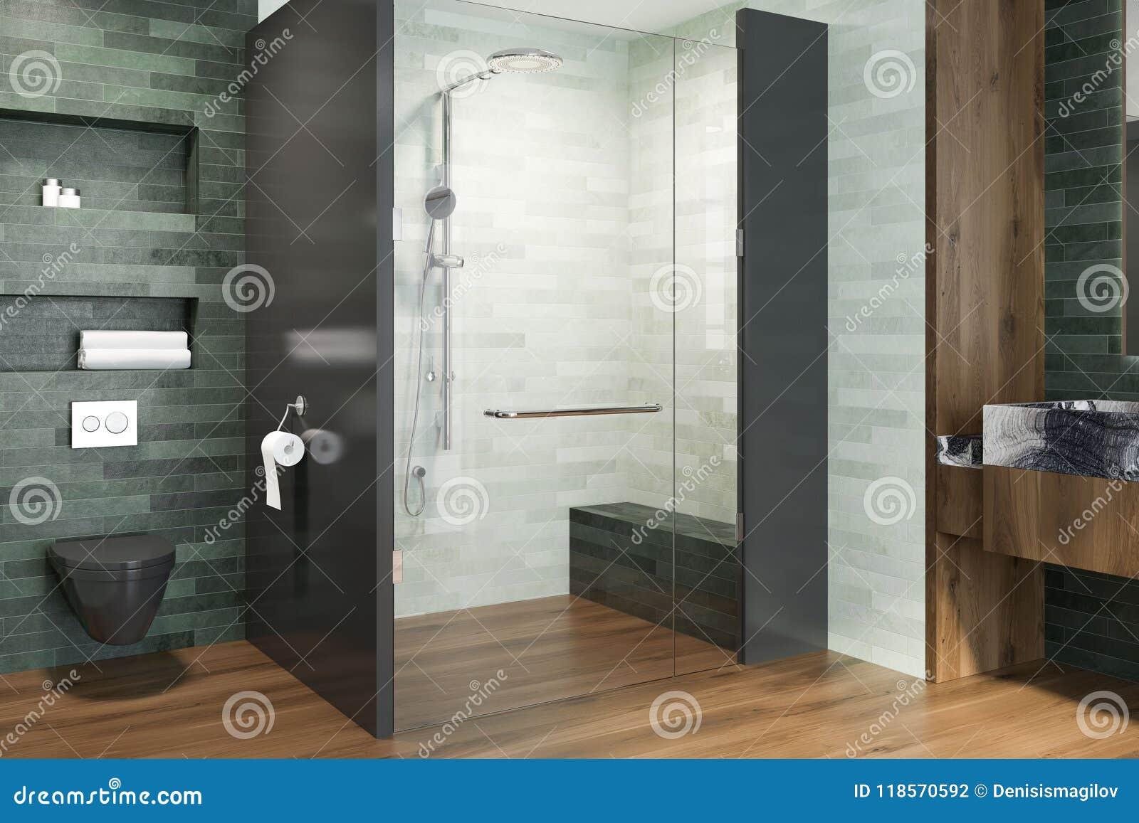 White And Emerald Luxury Bathroom Shower Toilet Stock Illustration ...