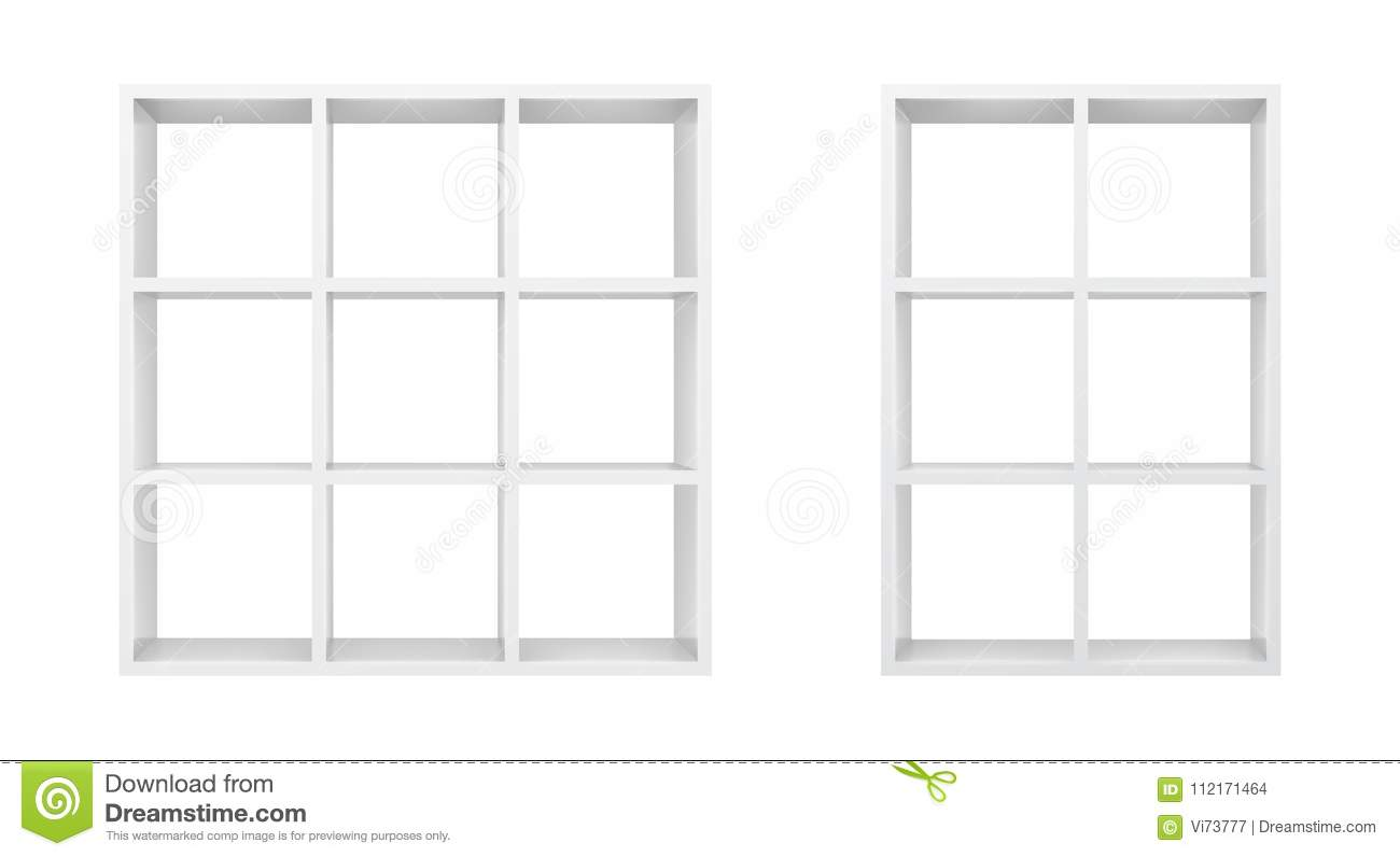 White Empty Bookshelf Template Realistic Isolated Vector