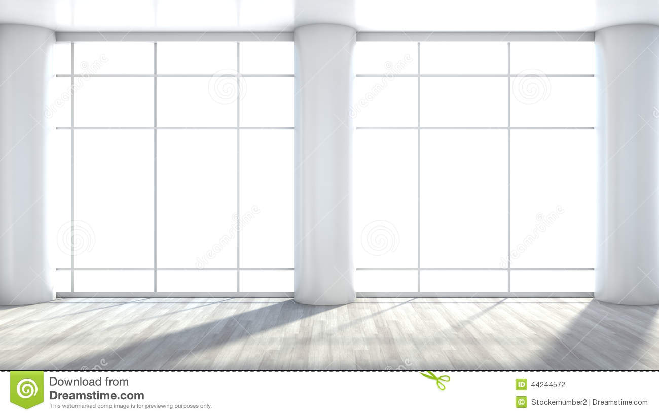 white empty interior with large window stock illustration