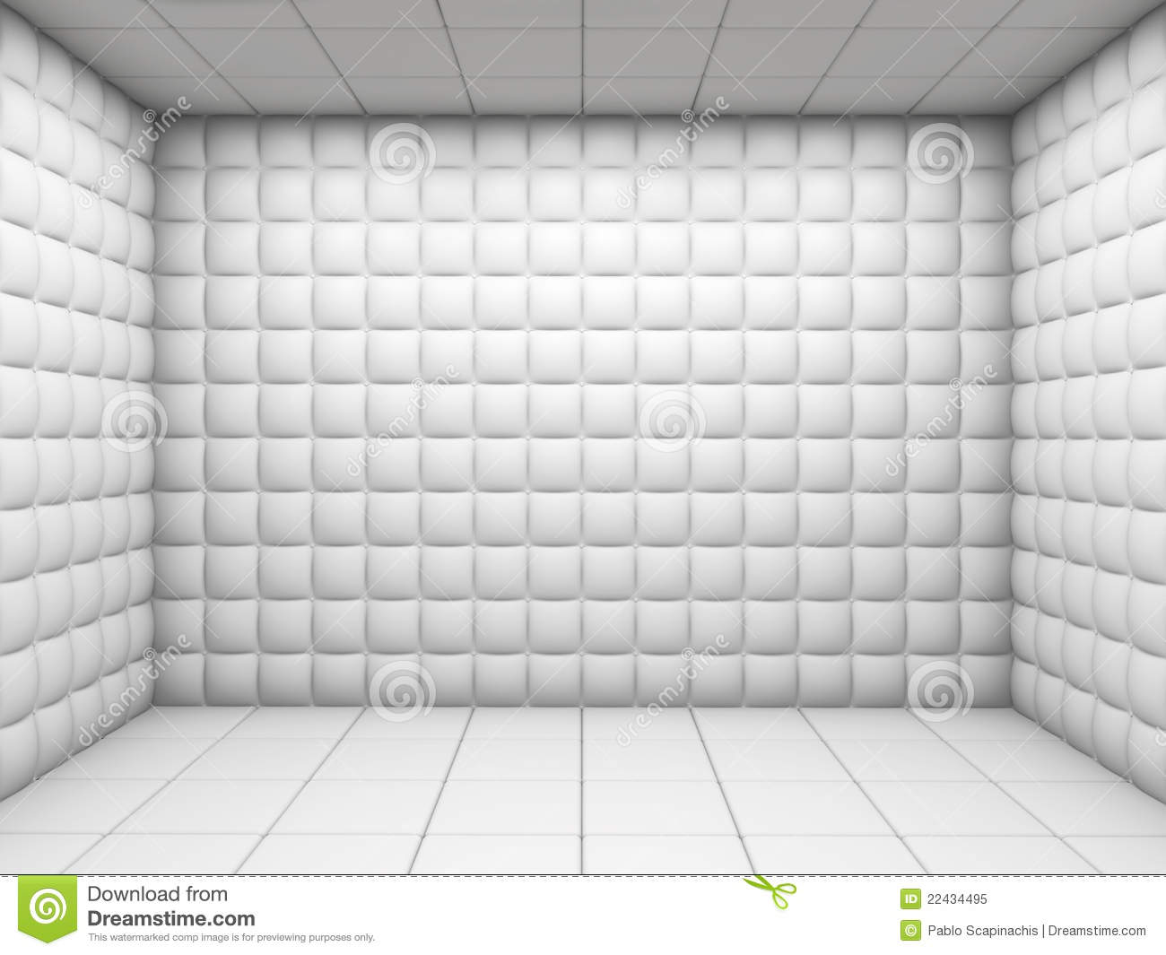 White Empty Padded Room Stock Illustration Illustration