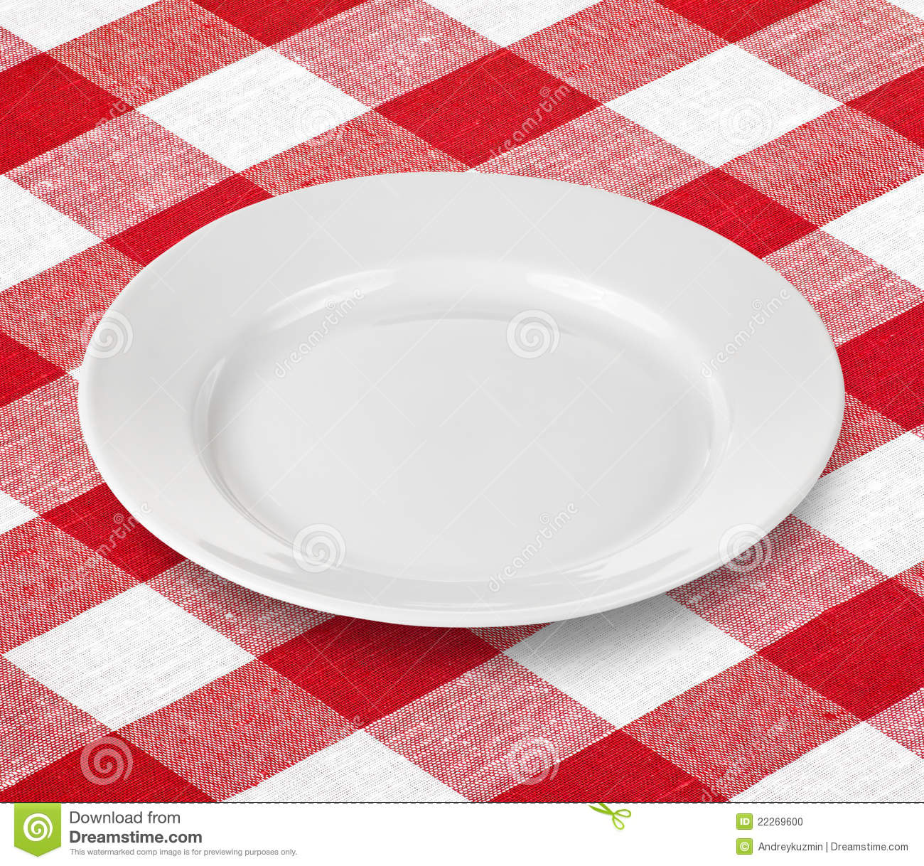 Stock Photo White Empty Plate Red Gingham Tablecloth Image22269600 on table setting clip art