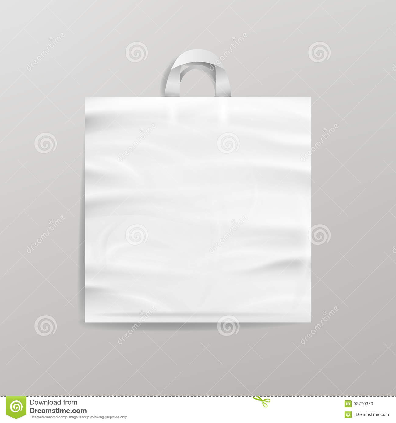 White Empty Reusable Plastic Shopping Bag With Handles. Close Up Mock Up. Vector Illustration