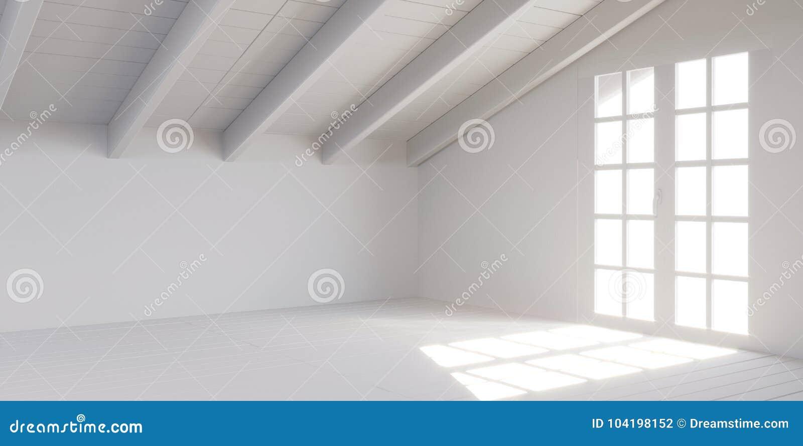 White empty room in attic with wooden door and lumber roof. 3D rendering.