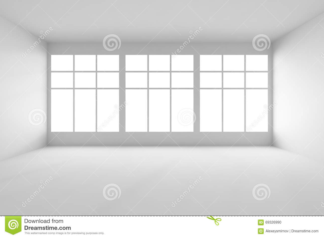 Gray Living Room Walls White Empty Room With Big Windows Front View Stock