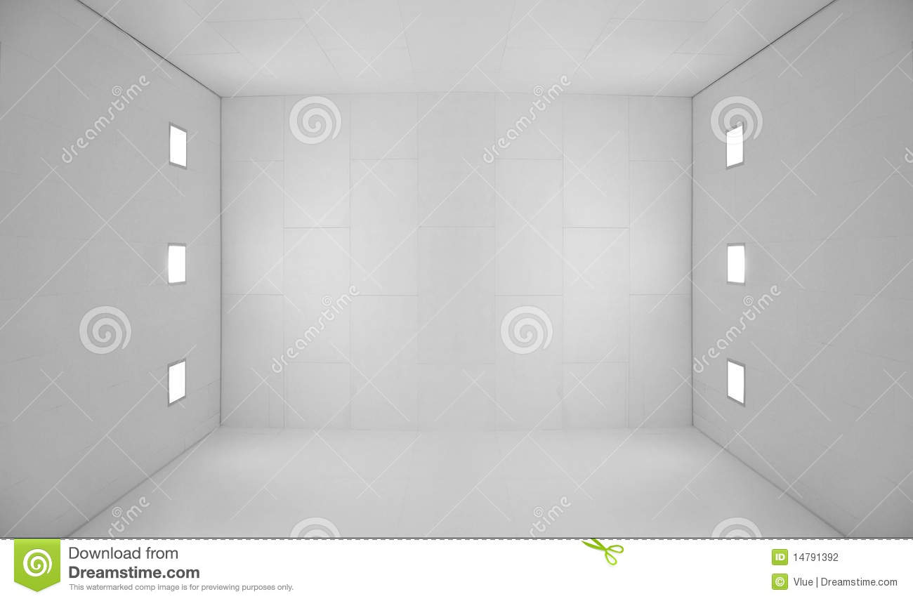 White Empty Room With Square Lights Stock Photo Image Of