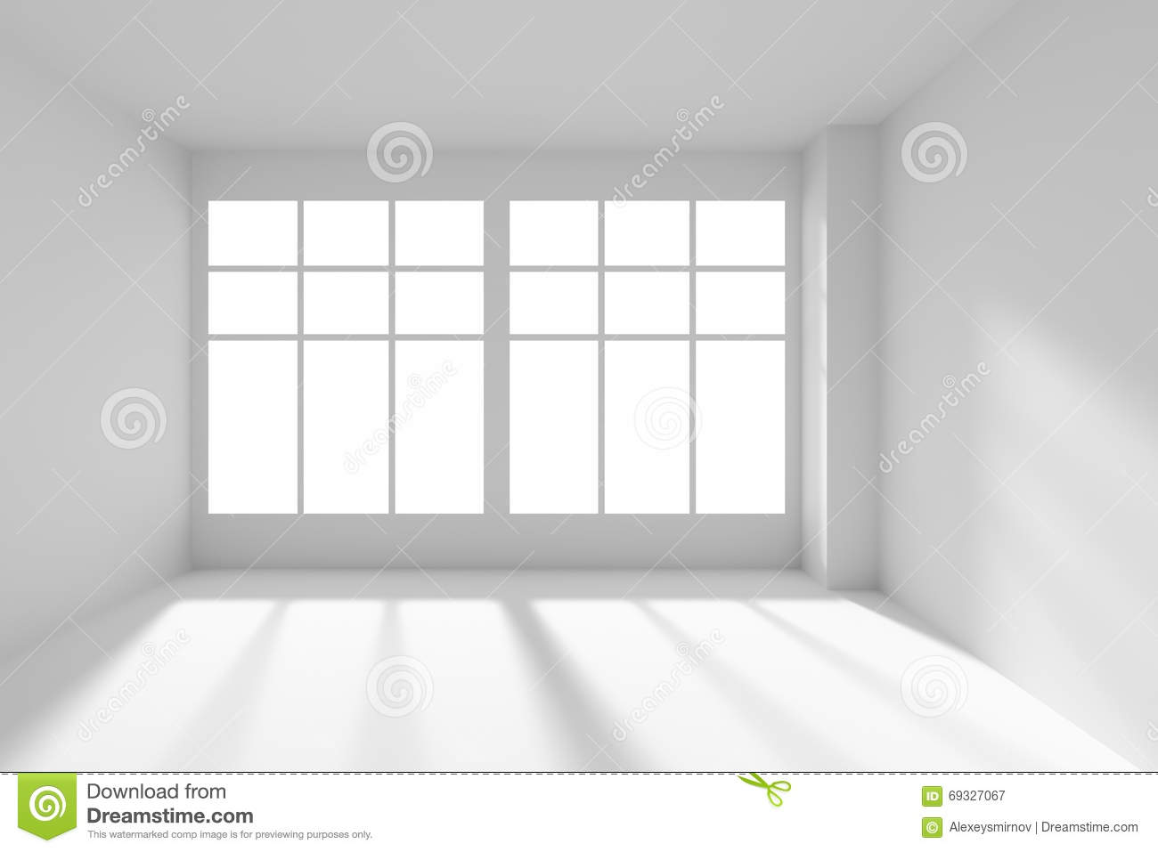 White Empty Room With Windows And Sunlight Front View Design Inspirations