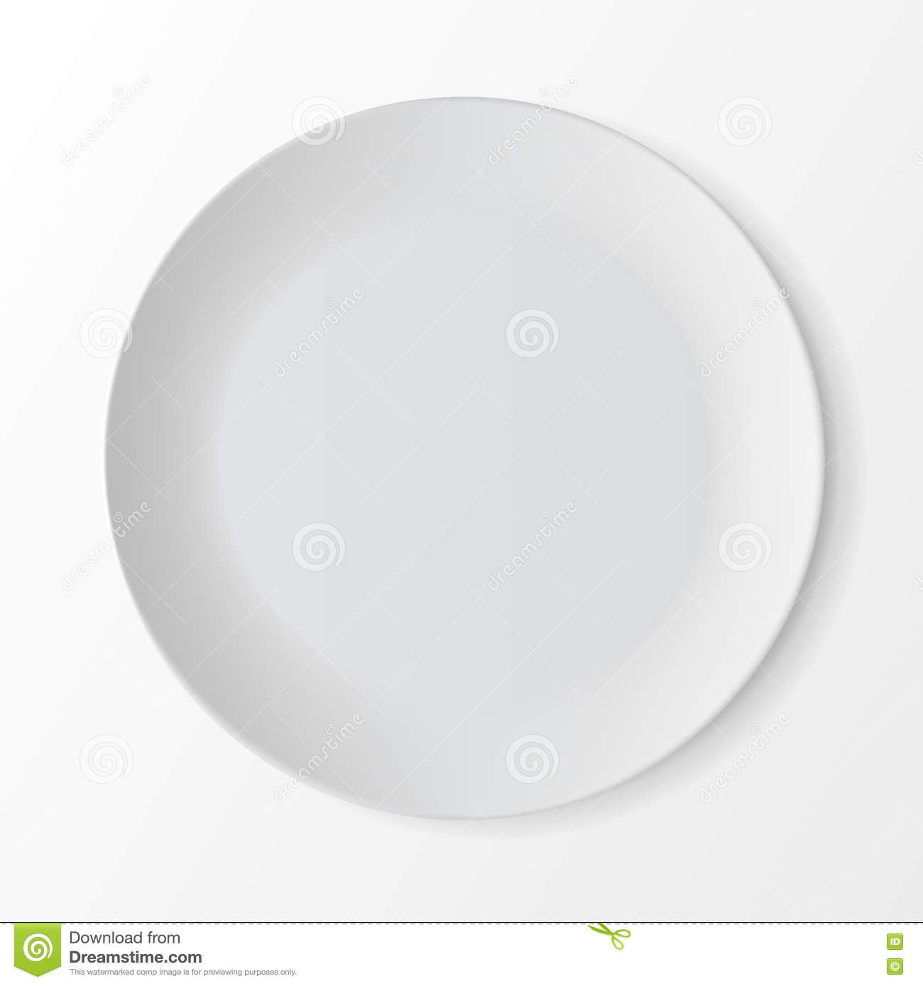 Table Setting Background white empty round plate on background. table setting stock vector