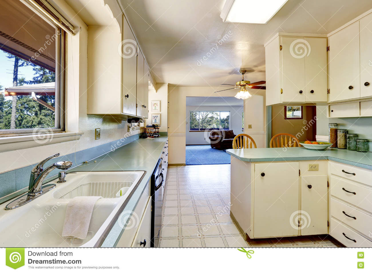 White Empty Simple Old Kitchen Interior Stock Image