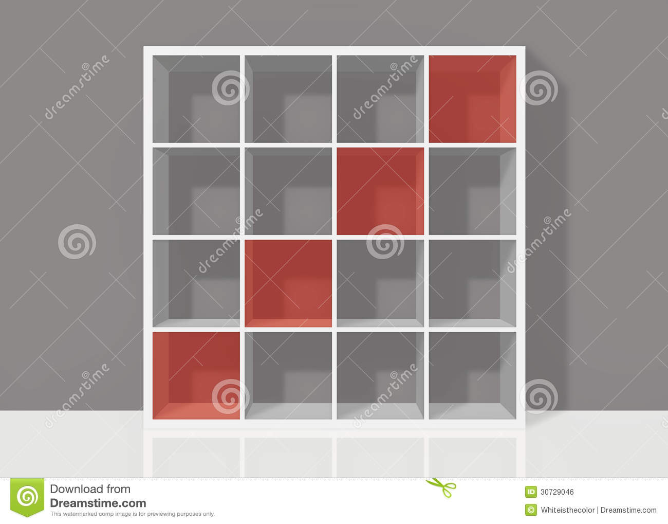 White Empty Square Bookshelf With Red Diagonal Elements On Grey