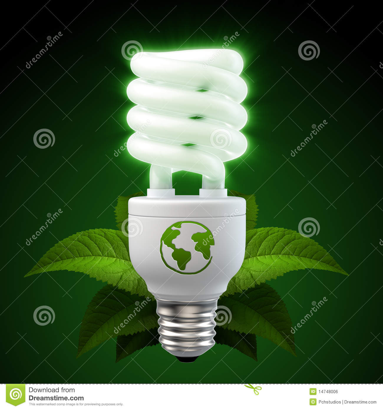 White Energy Saving Light Bulb With Leafs On Black Royalty Free Stock ...