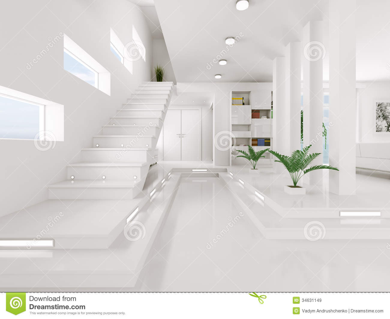 Superior White Entrance Hall Interior 3d Render