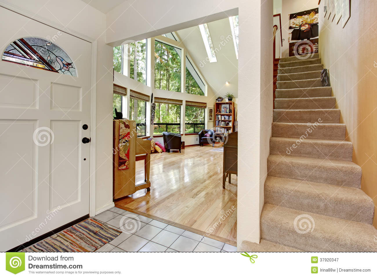 White entrance hallway stock image. Image of empty, stairs - 37920347