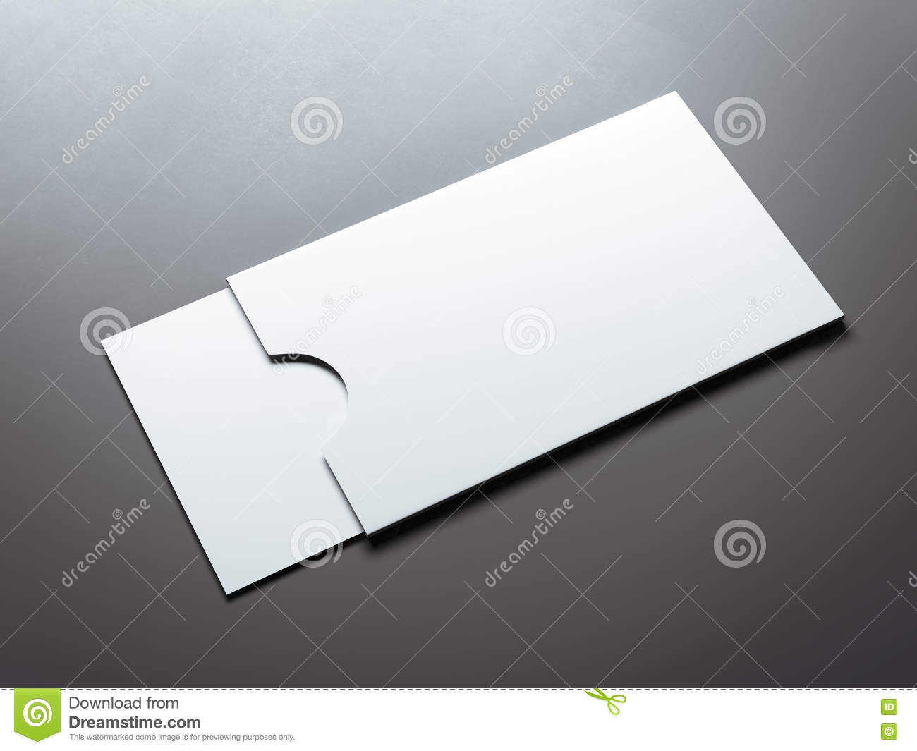 White Envelope With Blank Business Card. 3d Rendering Stock ...