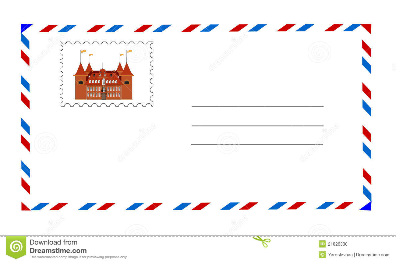 Postage Stamp Clip Art Black And White White envelope with postage