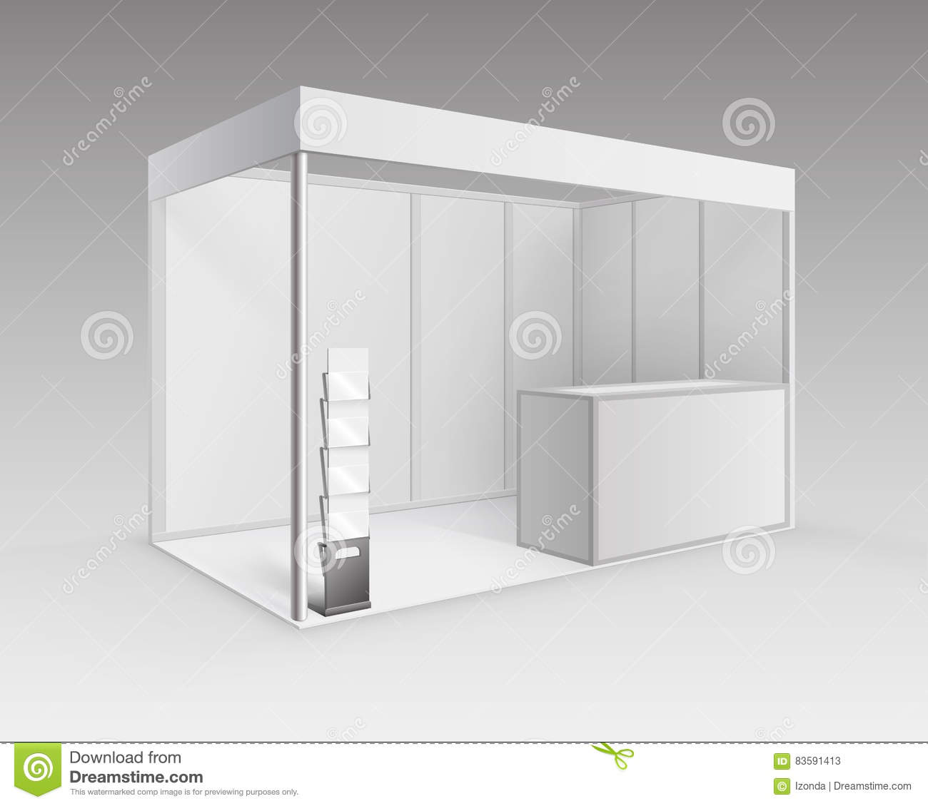 Exhibition Stand Information : White exhibition stand with brochure holder stock vector