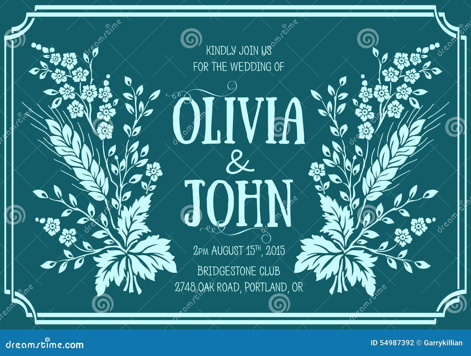 White för bröllop för vektor för inbjudan för bakgrundskortteckningar Hand dragen illustration